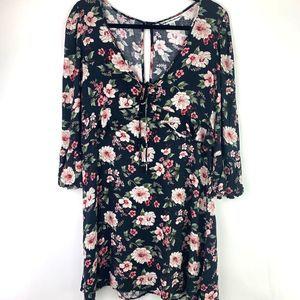 AEO Deep V Neck Open Back Floral Boho Mini Dress